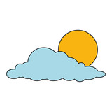 cloud with sun weather icon vector illustration design - 212247515