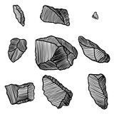 Rock stone hand drawn style. Big set of different boulders. Collection of illustrated cracked and damaged stones rubble architecture design. Gold nugget or prill. Vector. - 212248343