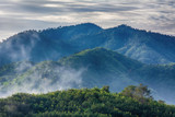 Forests, mountains, fog and clouds are landscape in Thailand.