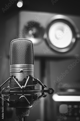 microphone & loudspeaker in sound studio - 212255183
