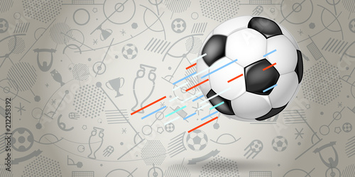 Fototapeta Flying soccer ball vector illustration