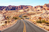 Scenic road in  the  Valley of Fire State Park, Nevada, United States. - 212258963