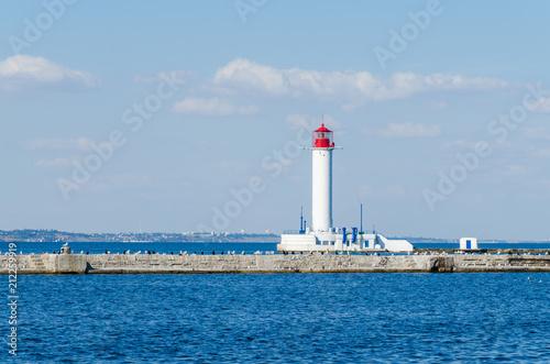Fotobehang Vuurtoren Seascape with lighthouse in the Odesa port