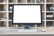 Leinwanddruck Bild - Mock up computer screen, wooden desk close up