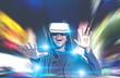 Leinwanddruck Bild - Happy African American guy in VR glasses
