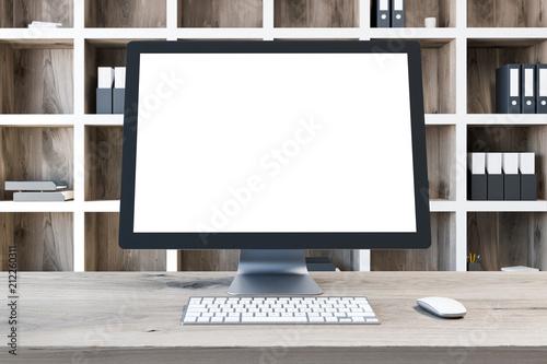 Leinwanddruck Bild Mock up computer screen, wooden desk close up