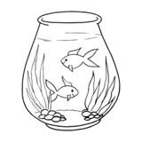 Aquarium cartoon illustration isolated on white background for children color book