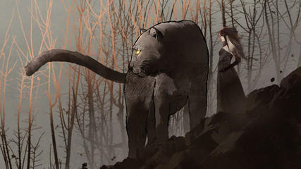 giant black panther and its owner standing on rock mountain, digital art style, illustration painting © grandfailure
