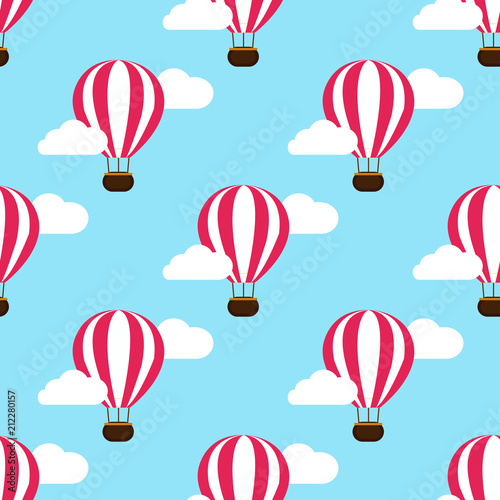 hot air balloon in the clouds background. vector illustration