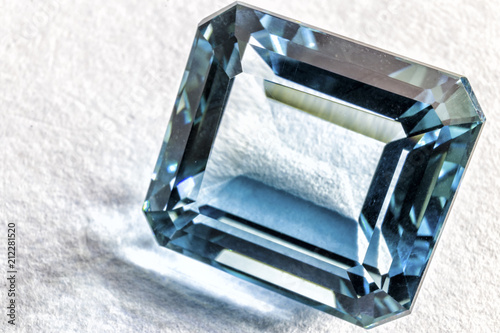 pretty blue quartz crystal faceted on white surface - 212281520