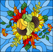 Illustration in stained glass style with autumn composition, bright leaves,flowers and fruits on blue background, rectangular image