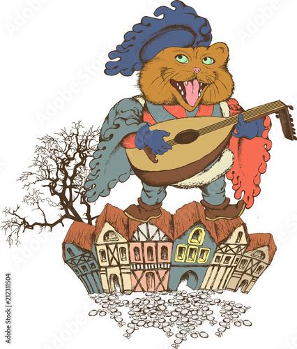 Fototapeta Singing cat the megieval minstrel. Design for t-shirt, poster. tattoo. Engraved style. Vector illustration