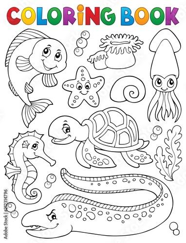 Fotobehang Voor kinderen Coloring book sea life collection 1