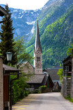 Vertical view of the Evangelical Church of Hallstatt in Austria in the summer - 212317718