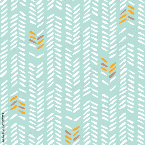 White hand drawn irregular tribal herringbone stitches on mint background vector seamless pattern. Geometric drawing