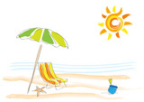 Vector background summer on the beach, childish drawing handmade. - 212317965