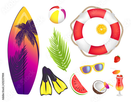 Summer Elements Collection Vector Illustration - 212317904