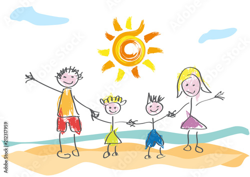 Vector drawing made by a child, happy family on vacation at the beach - 212317959