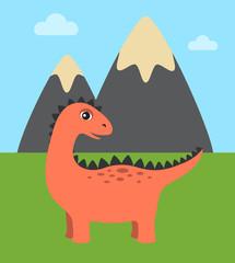 Dinosaur and Wild Nature Vector Illustration