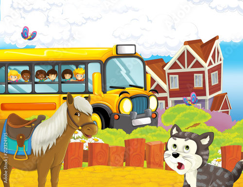 cartoon scene with kids on the farm having fun - in the school bus - illustration for children - 212324935