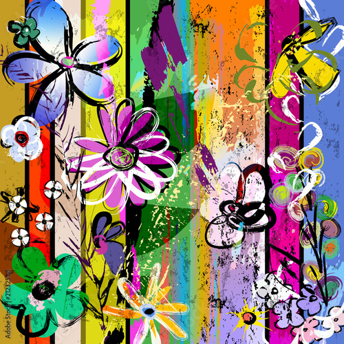 Aluminium Abstract met Penseelstreken abstract background composition with flowers, with strokes, splashes and geometric lines