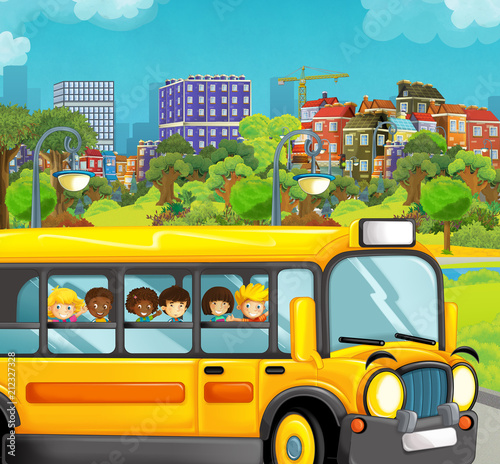 cartoon scene with kids in the school bus - trip in the city - illustration for children - 212327328