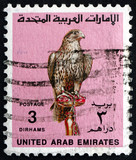 Postage stamp UAE 1990 Falcon, Bird of Prey