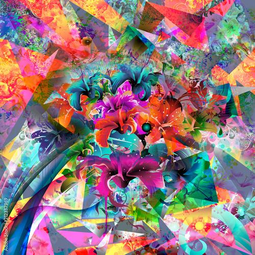 Canvas Reznik Цветные бабочки на фоне абстрактных волшебных брызг