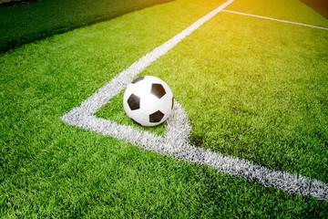 Soccer Football on Corner line