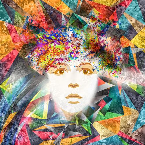 Fotobehang Abstractie Абстрактные и мистические женщины лицо в маске в красочный фон форме сердца, изолированных на белом