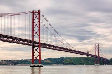 The 25 April bridge (Ponte 25 de Abril), Lisbon, Portugal.