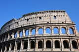 The close up of Colosseo in Rome, Italy
