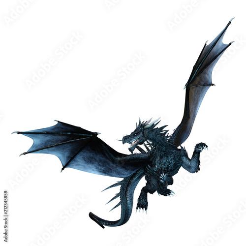 Leinwanddruck Bild 3D Rendering Fantasy Dragon on White