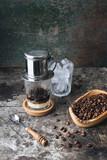Hot milk coffee dripping in Vietnam style. - 212352520