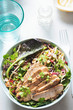Asian slaw with mixed leaves salad, pickled ginger, pomegranate and turkey with satay sauce  - 212355146