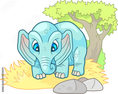 Sticker cartoon cute little elephant, design funny illustration