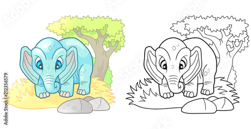 cartoon cute little elephant, design funny illustration