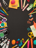Frame made from school supplies - 212360504
