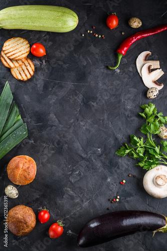 Rama Food Menu Restaurant Black Background Ingredients Space Copy Concept