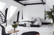 Modern open-plan apartment in attic, loft style, 3d render - 212369712