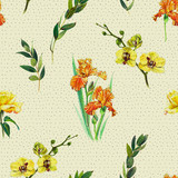 Floral seamless pattern with yellow orchid, orange iris and twigs. Art by markers. Imitation of watercolor drawing. - 212373315