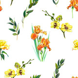 Floral seamless pattern with yellow orchid, orange iris and twigs. Art by markers. Imitation of watercolor drawing. - 212373336