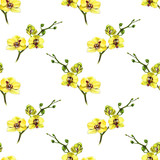 Floral seamless pattern with yellow orchid and twigs. Art by markers. Imitation of watercolor drawing. - 212373363