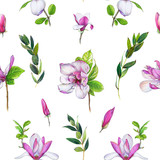 Floral seamless pattern with pink magnolias and twigs. Art by markers. Imitation of watercolor drawing. - 212373389