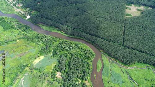 Plexiglas Khaki Aerial landscape - natural river