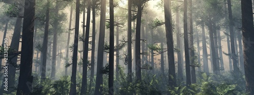 Plexiglas Grijze traf. Trees in the fog. The smoke in the forest in the morning. A misty morning among the trees. 3D rendering