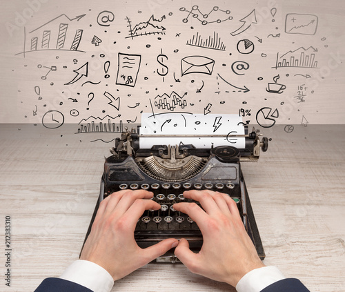 Wall mural Typewriter with doodles, idea, message, plane, car balloon social media concept