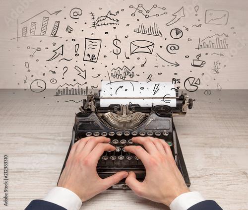 Plexiglas Hoogte schaal Typewriter with doodles, idea, message, plane, car balloon social media concept
