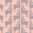 vector deer and branches on orange seamless repeat pattern - 212384712