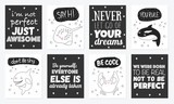 Vector set of cute postcards with funny sea animals and text.